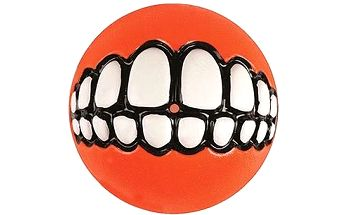ROGZ GRINZ míček se zuby oranžový 6,5 cm, který se dá naplnit pamlsky