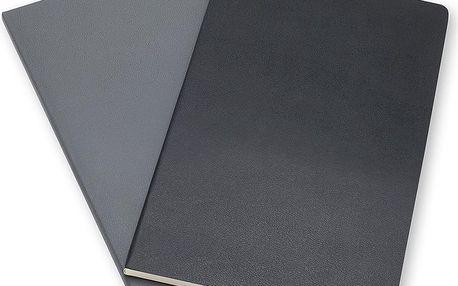 Sada 2 notesů Moleskine Slate Grey, linkované 13x21 cm