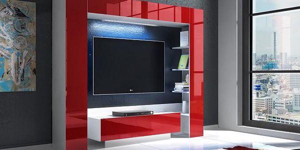 Moderní barevná obývací stěna Mezek (bílá/červená)
