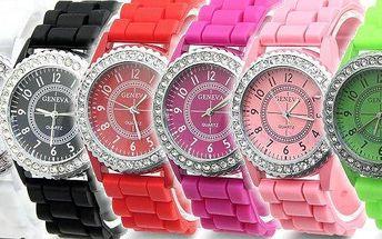 Pořiďte sielegantní silikonové hodinky s krystalovými kamínky. Na výběr z několika barev. Každý den jiná barva hodinek.AKČNÍ CENA!