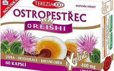 Ostropestřec + Reishi 60 kapslí pro ochranu a detoxikaci jater