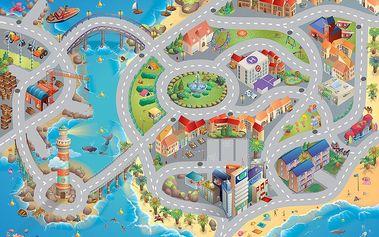 House of Kids Hrací podložka Město u vody 100x150 cm