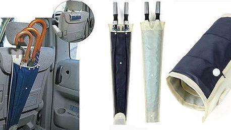 Obal na deštníky do auta z rychleschnoucího materiálu k zavěšení na přední sedačku. Ušetří Vám v autě místo, lze ho také rychle srolovat do malého balíčku.
