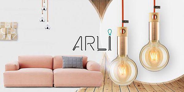 Svítidlo ARLI Cooper z mědi a kousku ručně vyřezávaného dřeva + 1,2m barevný designový kabel, nebo žárovky!
