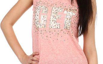 Tričko s nápisem a aplikacemi vpředu a na ramenou růžová