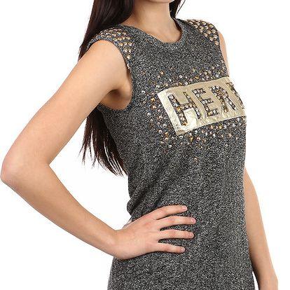 Moderní tričko s nápisem a kamínky hnědá