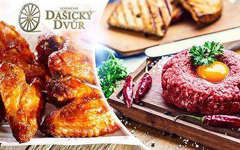 500g tatarák + 16 ks topinek nebo 2,4kg kuřecích křídel v marinádě + pečivo. Vydatná večeře až pro 4 osoby.