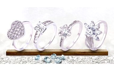 Nádherné rhodiované prsteny se třpytivými zirkony