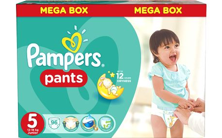Pampers Pants plenkové kalhotky 5 Junior (12-18 kg), 96 ks