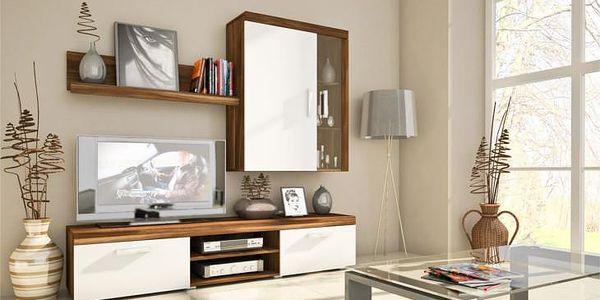 Levná obývací stěna SAMBA MINI sestava 1 švestka / bílý