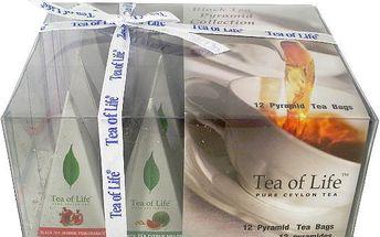 Tea of Life Černý čaj dárková kolekce 4 příchutě 12ks pyramid