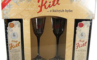 Kitl Šláftrunk z léčivých bylin Rudý 500ml Zlatý 500ml + 2 skleničky
