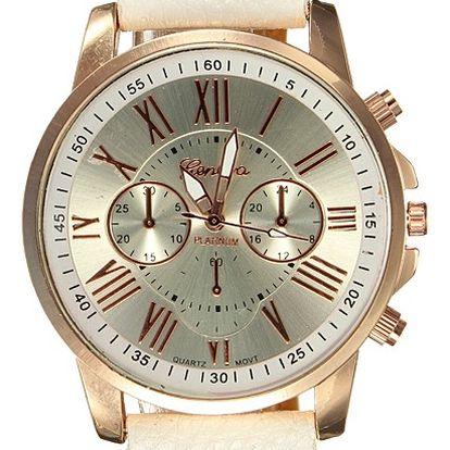 Dámské hodinky se zajímavým provedením ciferníku - bílá - dodání do 2 dnů