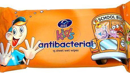 UNI Kids ubrousky antibakteriální vlhčené 15ks