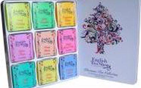 English Tea Shop Dárkový plechový box Vánoční strom 72 sáčků / 9 příchutí BIO čajů
