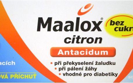 MAALOX BEZ CUKRU CITRON 40 Žvýkací tablety