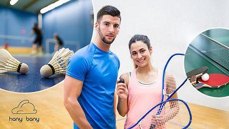 Squash, badminton či stolní tenis na 60 min. v Hany Bany na Praze 10! Za poplatek možnost zapůjčení výbavy.