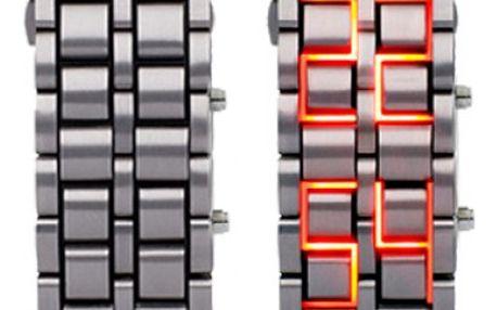 Stylové LED digitální náramkové hodinky - stříbrná barva - dodání do 2 dnů