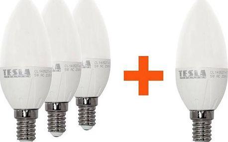 SADA 3 + 1 zdarma LED Žárovek Tesla svíčka, 5W, E14, teplá bílá