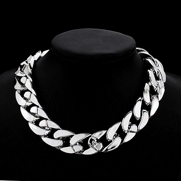 Mohutný náhrdelník - stříbrná barva