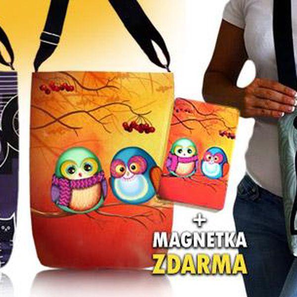 Dámská/dívčí volnočasová kabelka přes rameno s vtipnými motivy + zdarma magnetka ve stejném designu jako kabelka.