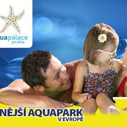 AQUAPALACE Praha: 3hod. večerní koupání nebo Vodní svět na 4 hod. + sauny nebo fitness a sleva do Fruitisimo!