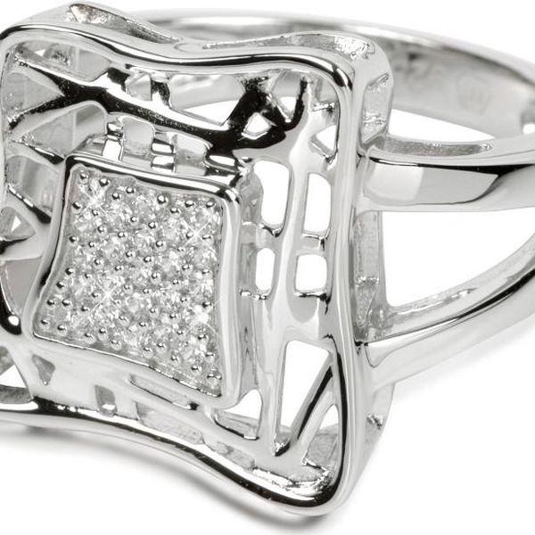 Silver Cat Stříbrný prsten s krystaly SC016 52 mm