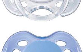AVENT Modrý + bílý dudlík sensitive (silikon) - 0-6 měsíců