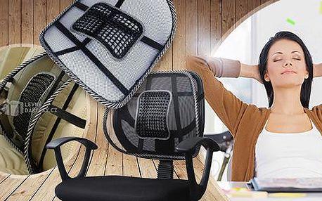 Masážní ergonomická opěrka zad. Lze umístit na kancelářské křeslo i na sedadlo do auta.