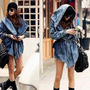 Jeans kabátek s kapucí - 2 barvy