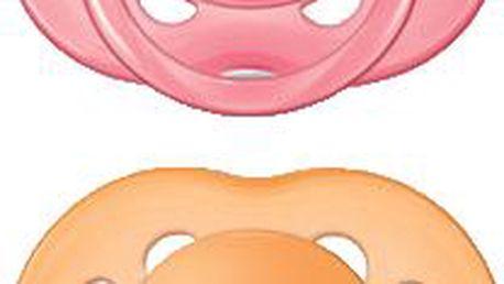 AVENT Růžový + oranžový dudlík sensitive (silikon) - 6-18 měsíců