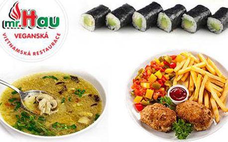 50% sleva na veganské degustační menu pro 2 nebo 4 osoby ve veganské vietnamské restauraci Mr. Hau