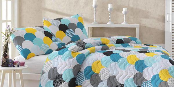 Sada prošívaného přehozu přes postel a dvou povlaků na polštář Damla Mint, 200x220 cm
