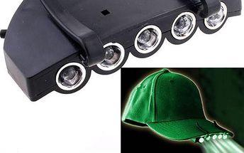 Nasazovací 5 LED svítilna na kšiltovku - skladovka - poštovné zdarma