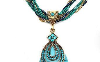Výrazný vintage náhrdelník v tyrkysové barvě - dodání do 2 dnů