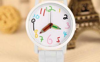Dámské hodinky s ručičkami ve tvaru pastelek - dodání do 2 dnů