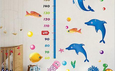 Dětský metr na zeď - Mořský svět