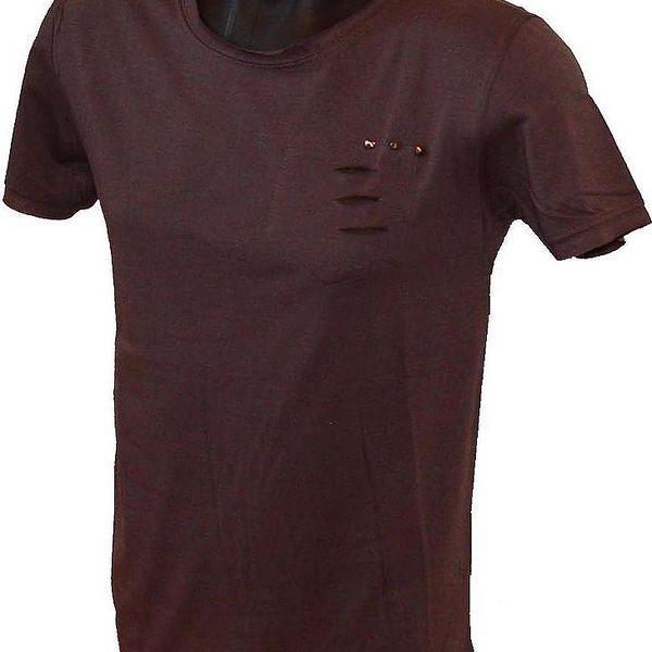 Pánské triko s moderními kovovými aplikacemi - hnědé, velikost M