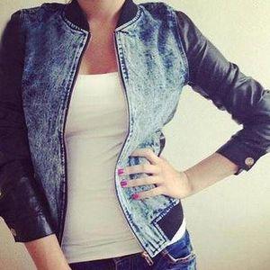 Jeansová bundička s koženými rukávy