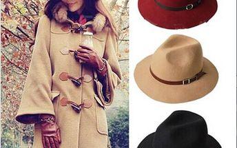 Dámský podzimní klobouk s páskem - hnědá - skladovka
