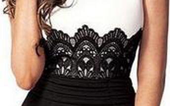 Pouzdrové černobílé šaty s krajkou - S-XXL