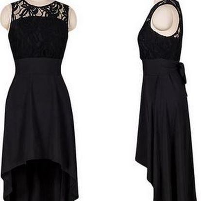 Černé koktejlové šaty s krajkou - 4 velikosti