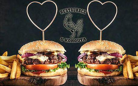 1+1 burger ZDARMA dle výběru včetně vegetariánské varianty v restauraci U Kohouta