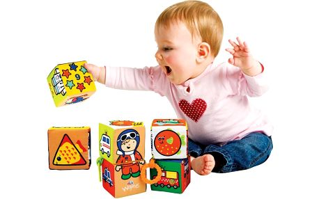 K's Kids Zábavné textilní kostky 6 ks, Barevná
