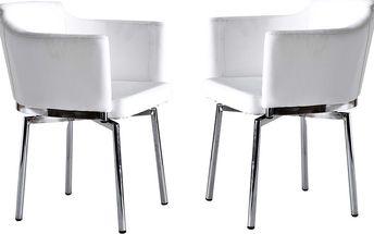 Sada 2 otočných židlí Detroit, bílé - doprava zdarma!