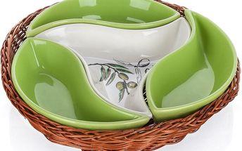 Banquet Olives 4dílná servírovací mísa v košíku