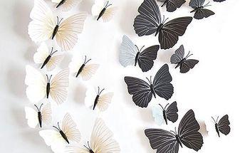 Černobílí dekorativní motýlci - 24 kusů - poštovné zdarma