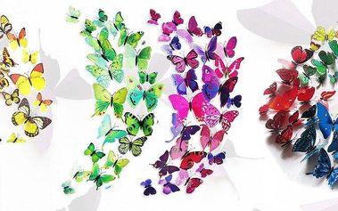 Sada 12 barevných 3D motýlků