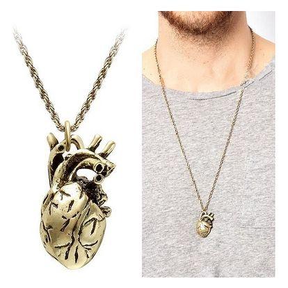 Pánský náhrdelník v podobě skutečného srdce