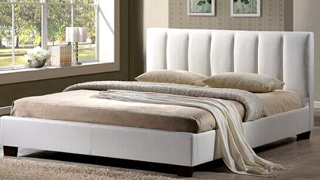 Koženková postel 180 x 200 cm + rošt